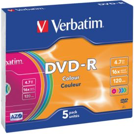 DVD-R 4,7GB 16X 5er SC Colour