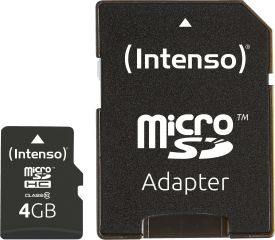 Micro SD Card 4GB Class 10 inkl. SD Adapter