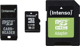 Micro SD Card 16GB Class 10 inkl. SD + USB Adapter Set