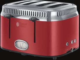 Retro Ribbon Red 4-Schlitz-Toaster