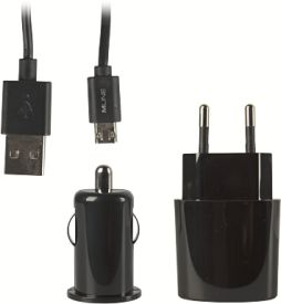 MicroUSB Ladeset Reise- Kfz- Datenkabel double-sided