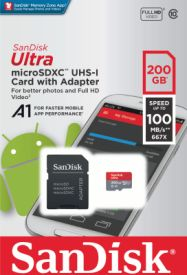 Ultra Android microSDXC 200GB A1 UHS-I + SD Adapter