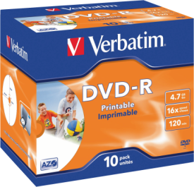 DVD-R 4,7GB 16X 10er JC Printable