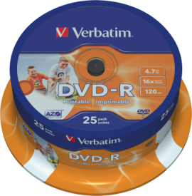 DVD-R 4,7GB 16X 25er SP Printable