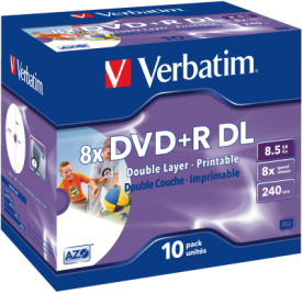 DVD+R DL 8,5GB 8x 10er JC Printable