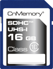 16GB SDHC-Card Class 10 UHS-I,up to 45MB/s