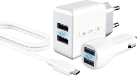 15W Wall Charger + 10W Car Charger + Micro USB Cable