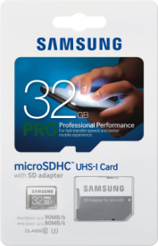 PRO 32GB micro SDHC Card 90MB/s + Adapter
