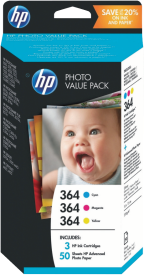 364 HP Photo Value Pack + 50 Blatt T9D88EE