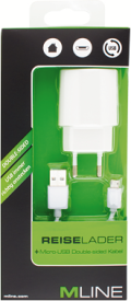 Reiselader SingleUSB 1A und Double-sided MicroUSB Datenkabel
