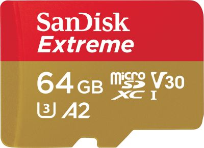 Extreme microSDXC 64GB 160MB/s A2 C10 V30 UHS + SD Adapter