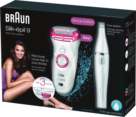 Braun Personal Care Silk-epil 9-538 Legs, Body & Face wet&dry + Face Epilierer_0