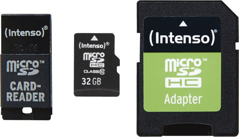 Micro SD Card 32GB Class 10 inkl. SD + USB Adapter Set