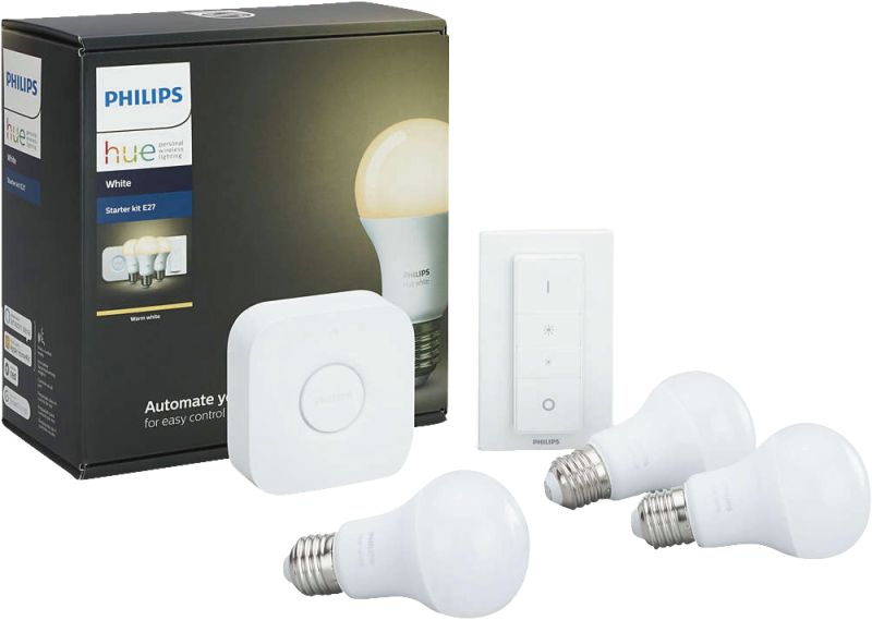 Hue White LED E27 3er Starter Set 9,5W inkl. Dimmschalter
